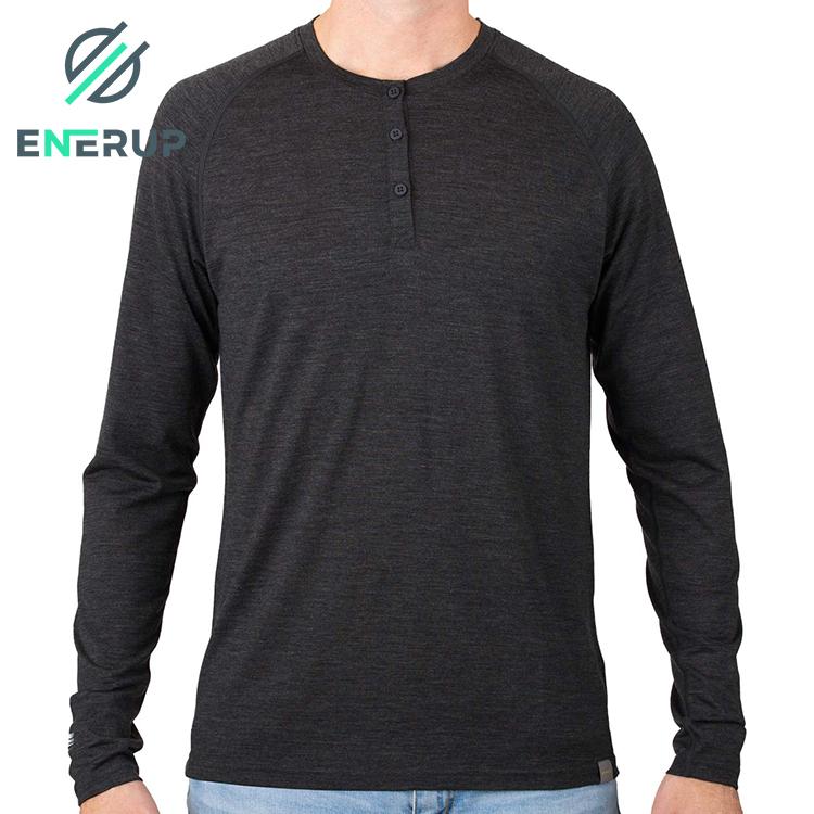 Enerup High Quality Custom 100% Merino Wool Fabric Thermal Top Underwear For Mens
