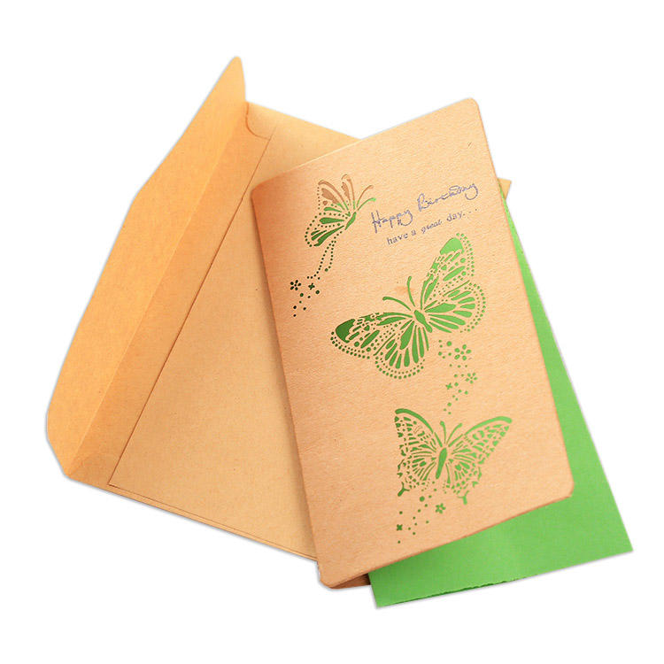 Small Thank You Card Wallet Insert Rose Gold Full Color Printing Printed Personalized Thank You Shopping Card with Butterflies