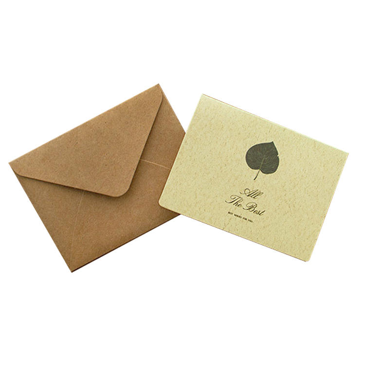 Custom Logo Handmade Gold Foil Heart Business Recycled Black Paper Greeting Card Customised Kraft Thank You Cards with Envelopes