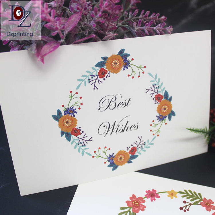 Flower pattern mini flat custom printed logo thank you cards with envelope