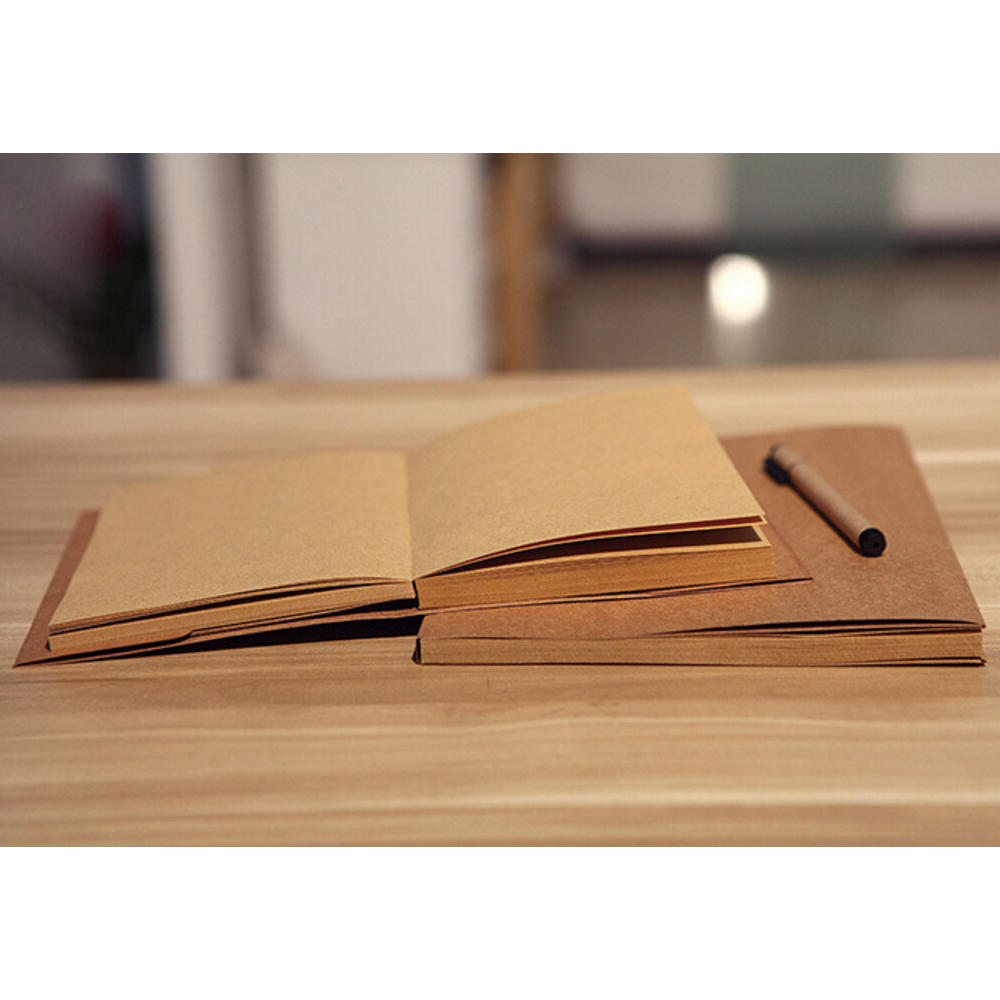 2018 Trending Durable Stitching Lay Flat Recycle Brown A5 Kraft Notebook