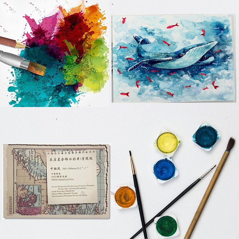 Four-sided sealant cotton pulp paper, high-quality cotton pulp,heavy weight watercolor papers