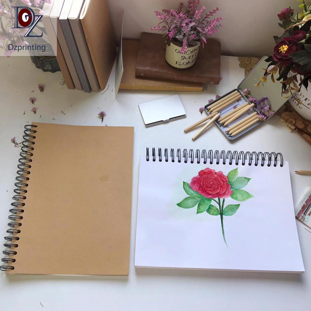 US Amazon Best Watercolor Notebook Spiral Ink Drawing Custom Printed Sketchbook