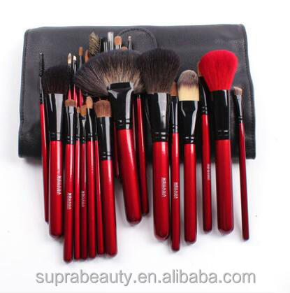 25pcs Rose red wood handle make up brush with bag cosmetic brush