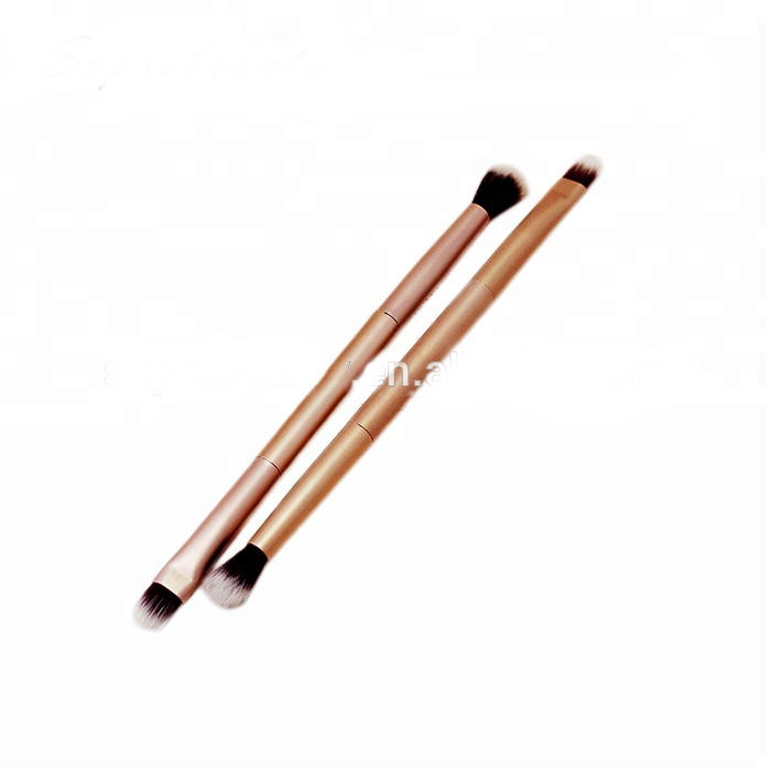 High quality synthetic hair double head makeup double sided aluminum handle cosmetic eye shadow mixing brush