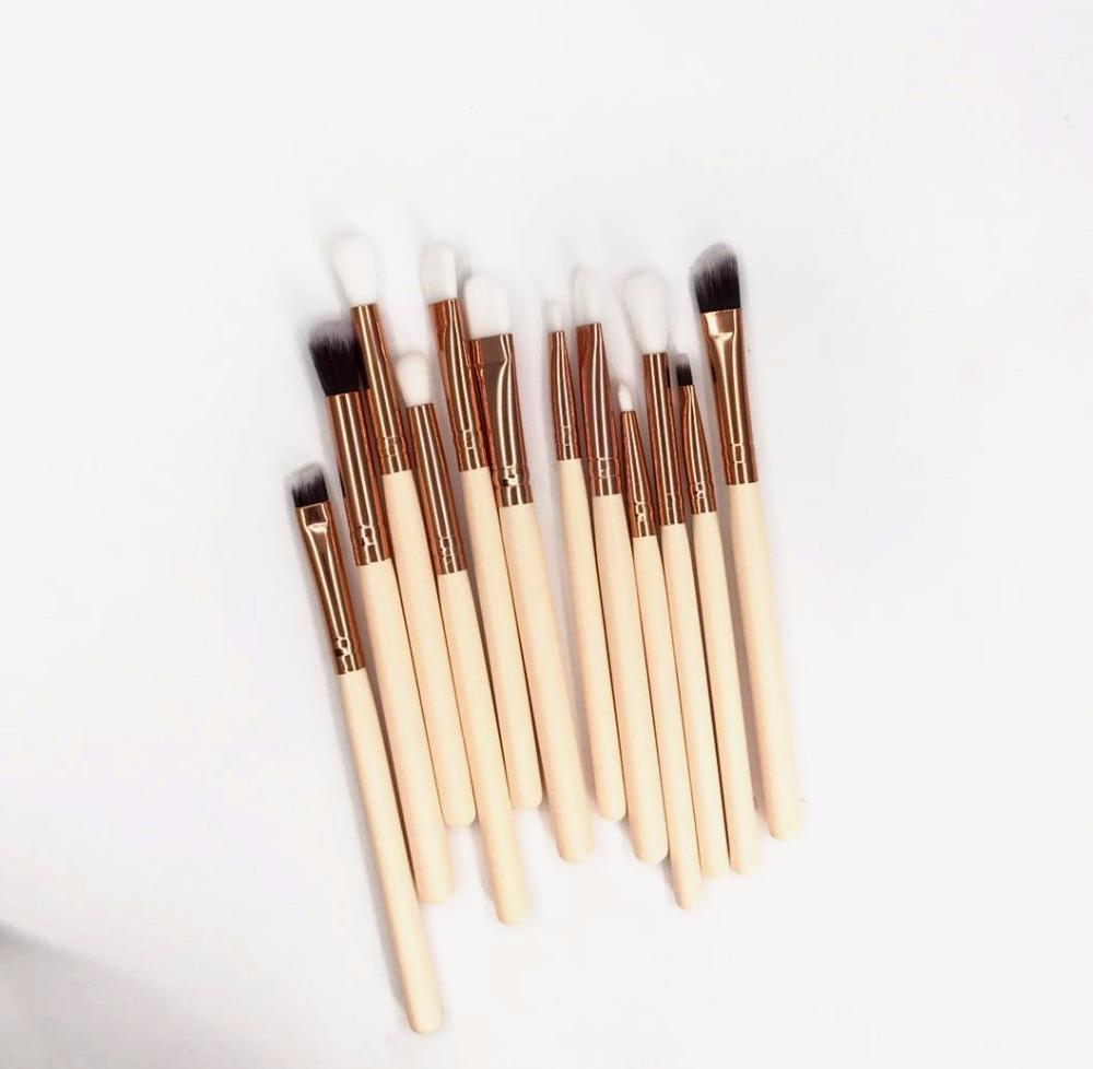 Somke eyeshadow cosmetic brush Stunning rose gold ferrule marbleous eye makeup brush set
