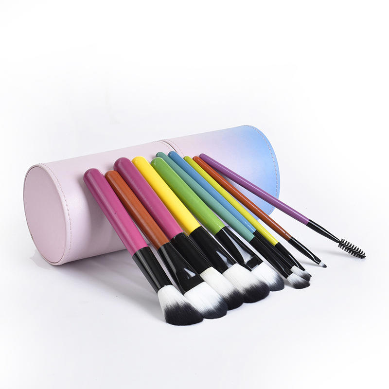 Free sample Pink&Blue color private label mermaid Cosmetic Brush Set
