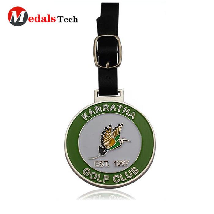 High quality custom logo soft enamel metal club golf bag tag