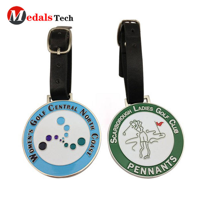High quality custom logo soft enamel metal club golf bag tag
