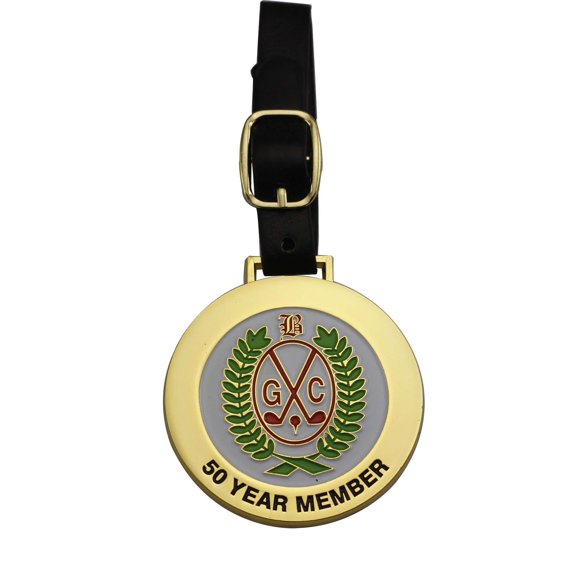 Hot sale customized golf club metal id tags with leather strap