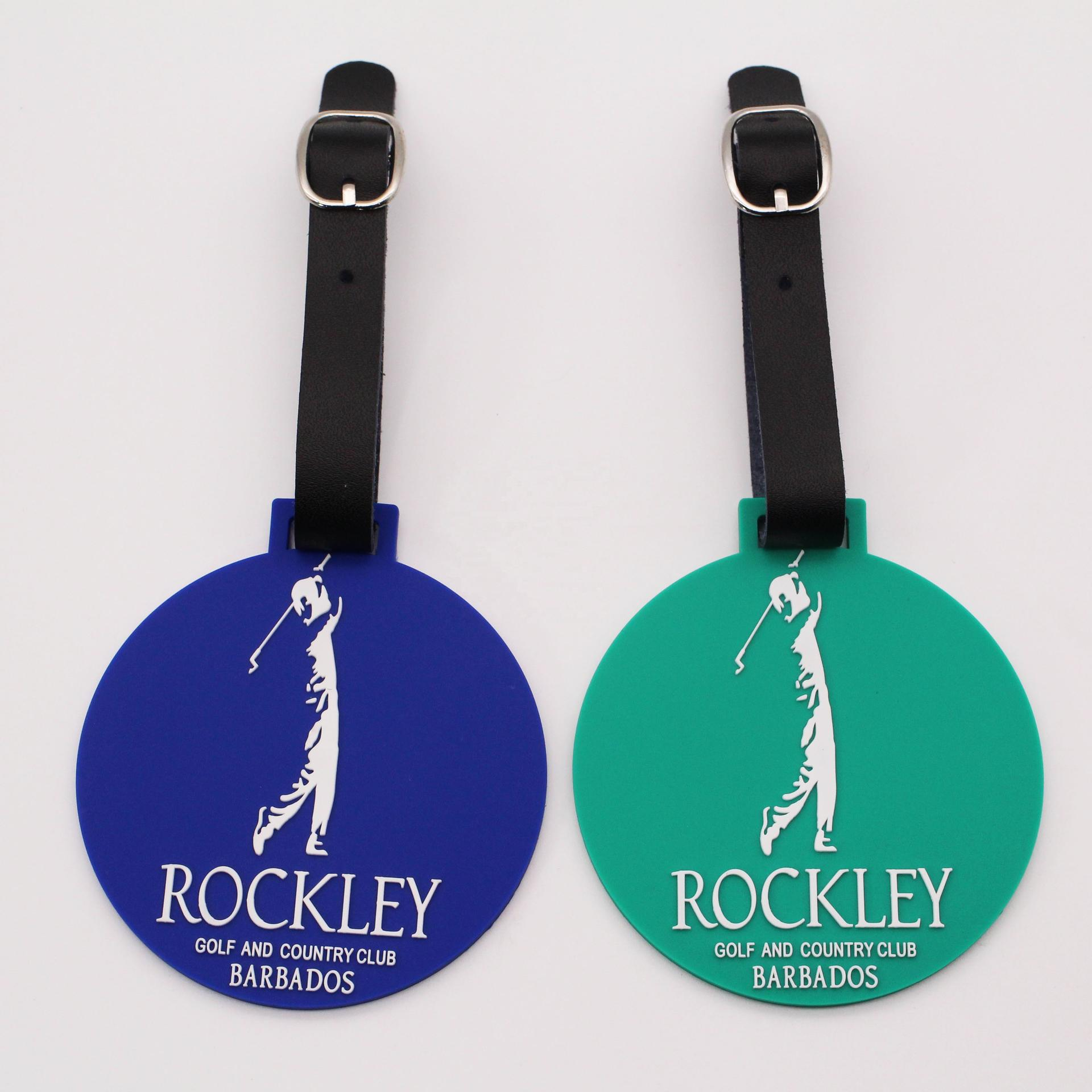 Round shape customized soft pvc golf bag luggage name tag