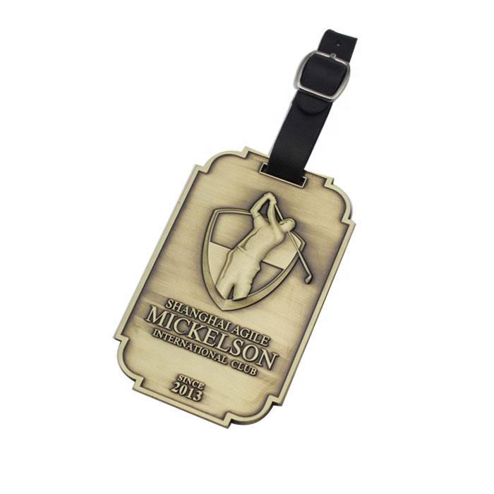 Good quality custom metal golf enamel bag tag golf with leather belt