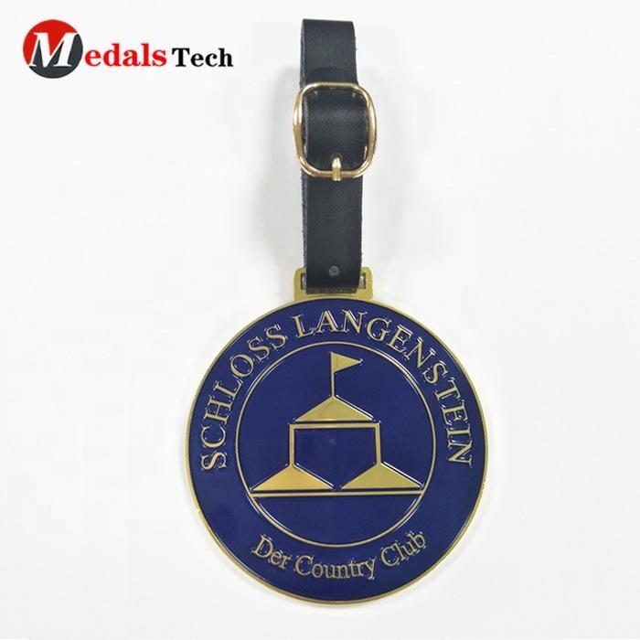 Cheap bulk customized gold metal soft enamel club custom metal golf bag tag