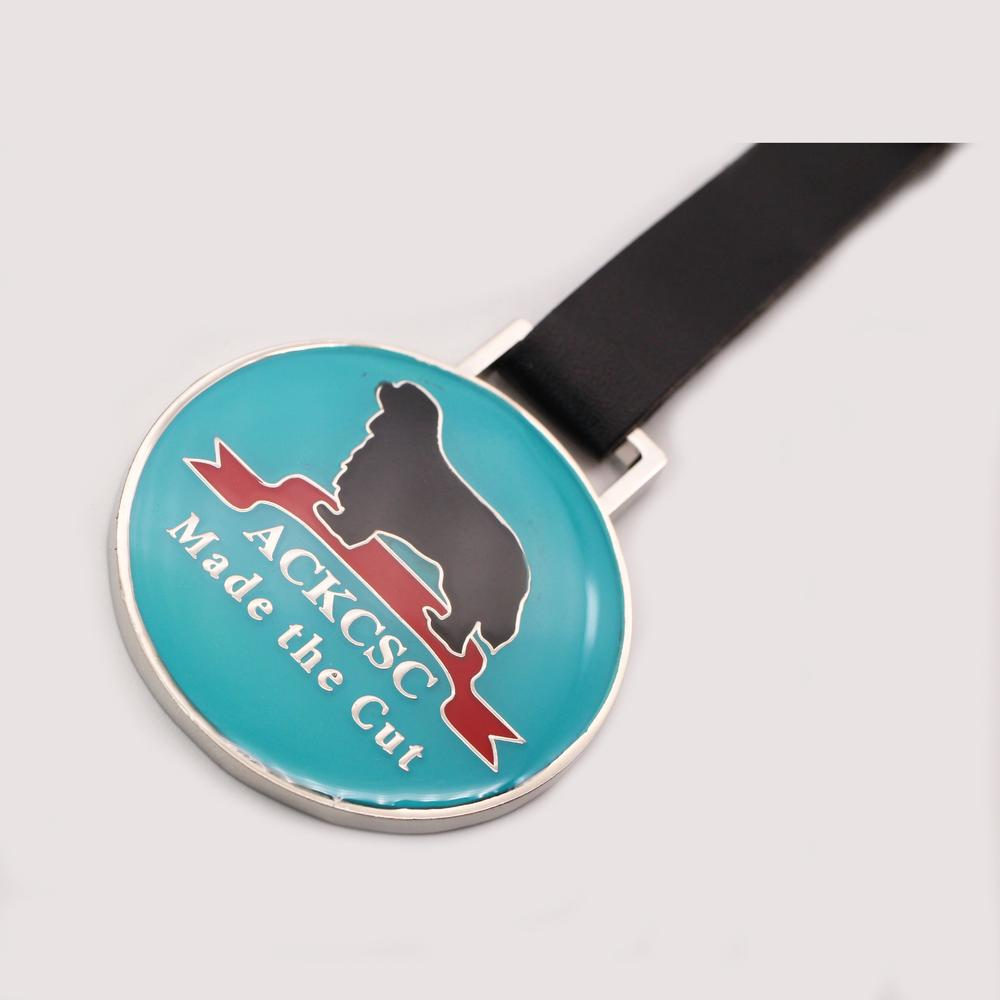 2020 Personalized round metal wholesale club golf tag with pu leather strap
