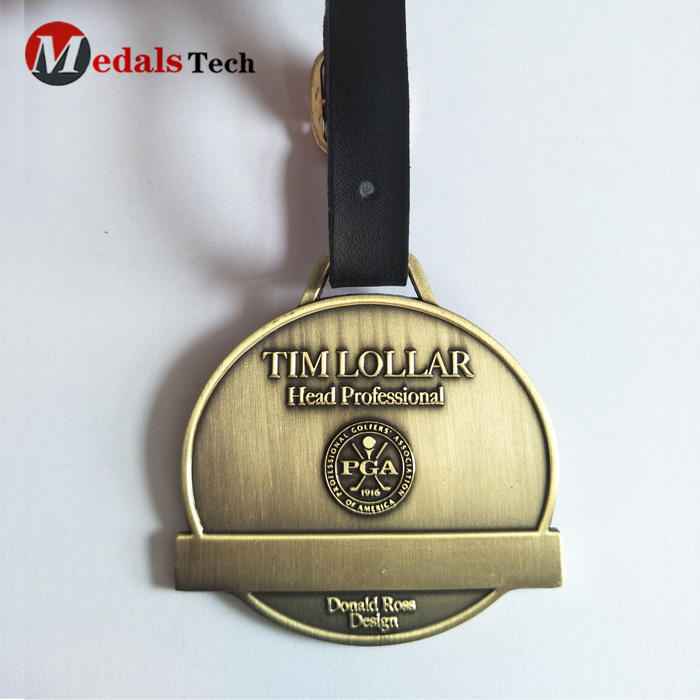 Custom embossed logo antique bronze golf bag tag with strap