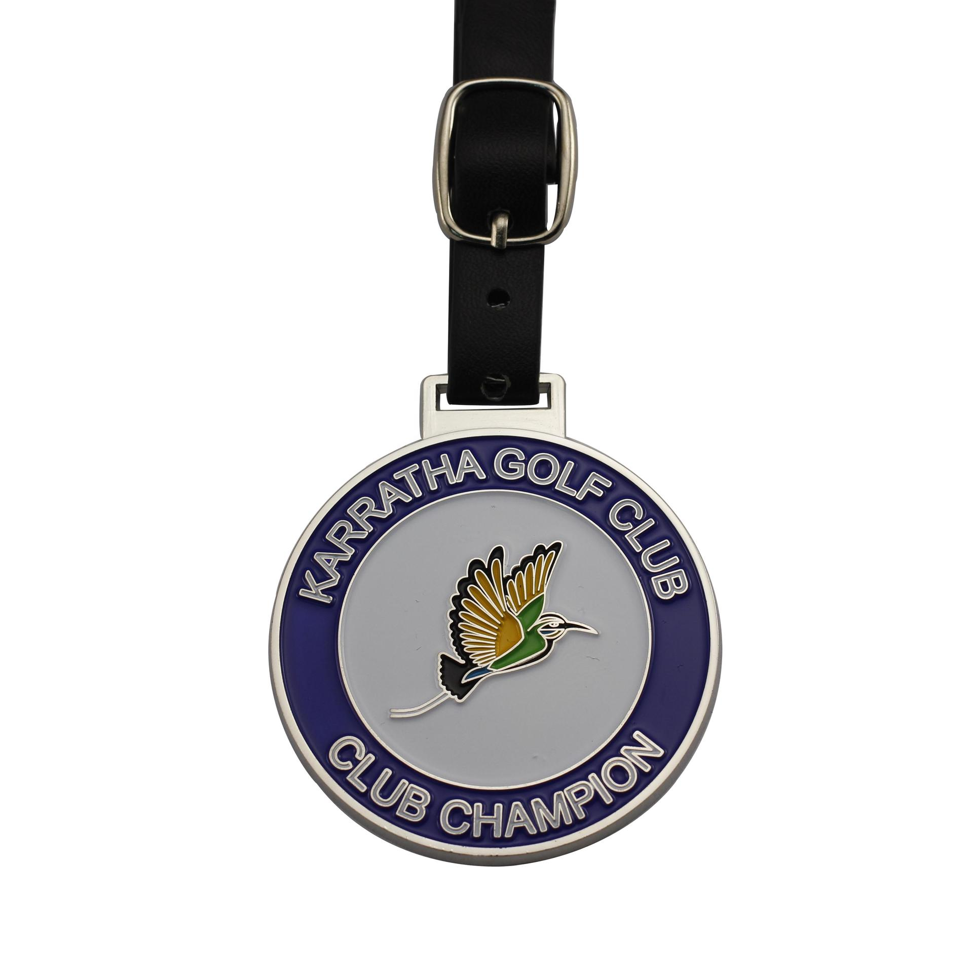 Good quality custom metal golf enamel bag tag golf with leather belt