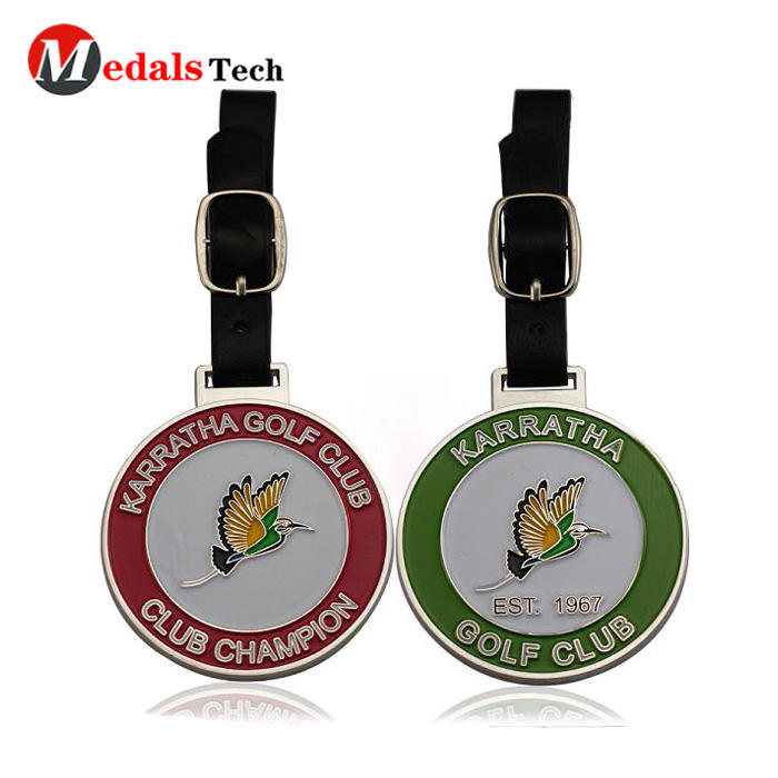 2019 CustomBlank Metal ClubGolf Bag Tag With Leather Belt