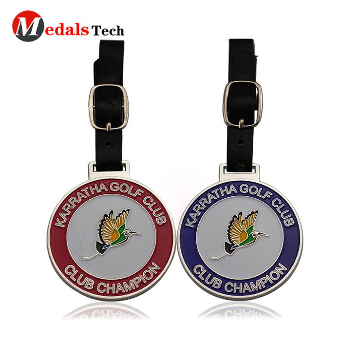 2019 promotional customized metal leather belt golf bag tag for golf club