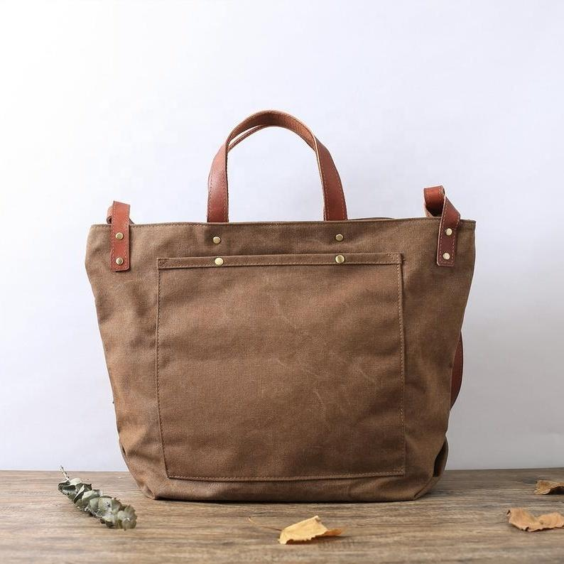Vintage Style Waxed Canvas Shoulder Bag Men Waterproof Crossbody Bag Canvas Messenger Bags for Men