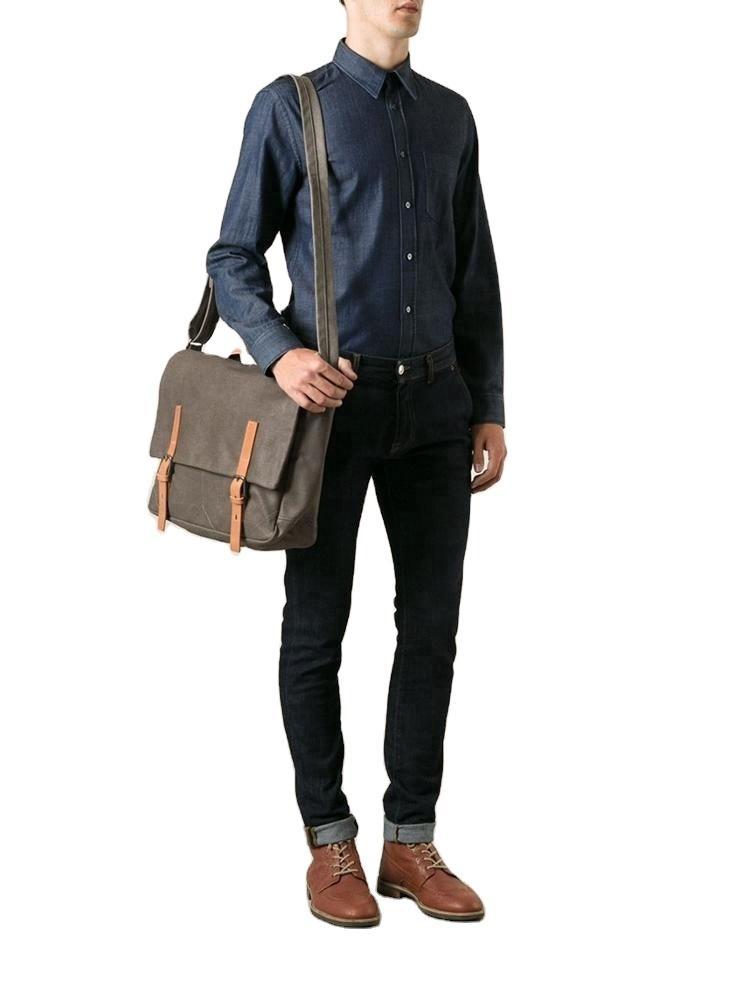 Vintage Style Canvas men Shoulder messenger Bag Cross body wear-proof business travel causal laptop bag shoulder Bag for Men