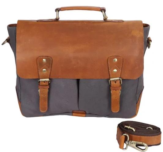Factory Wholesale Custom Waxed Canvas Leisure Messenger Laptop Bag For Men