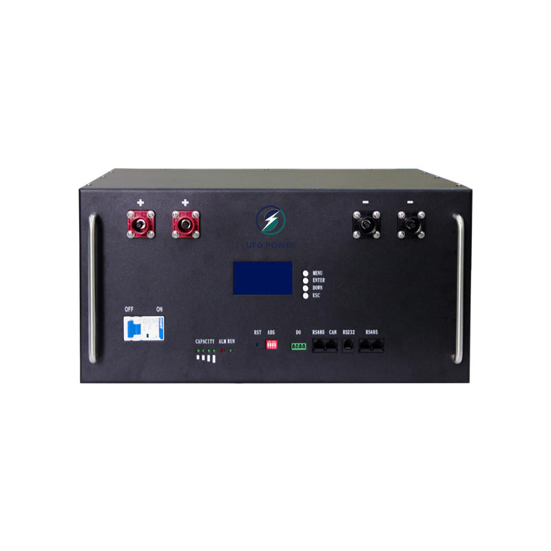 UFO Rack Mount LiFePO4 Lithium Battery Module | LCD Display | 4 Terminals | 48V 100Ah backup power supply