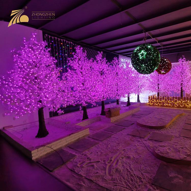 Professional Quality Square Supermarket Decoration Artificial Pine Shape Maple LED Tree