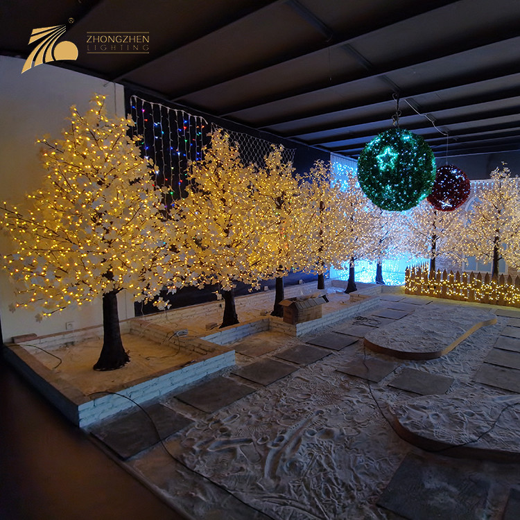 Hot Sale Christmas Decoration Remote Controller LED Artificial Cherry Tree Light