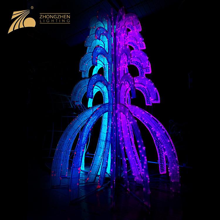 Shopping Mall Square Decor Customize Xmas Tree Ornament LED 3D Motif Lights