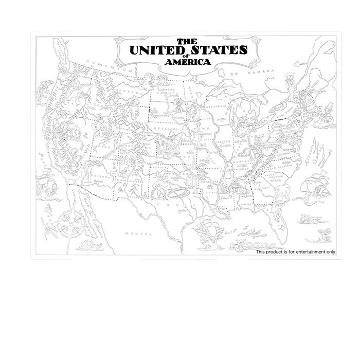 Large Map of The United States,Coloring Poster for Kids,USA MapColoring Poster Wall