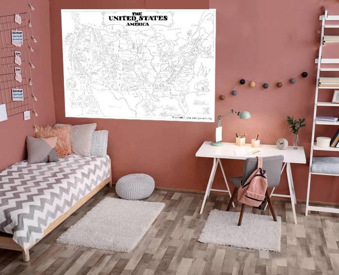 World Map Jumbo Coloring Poster Wall ,Coloring pages for kids and adults