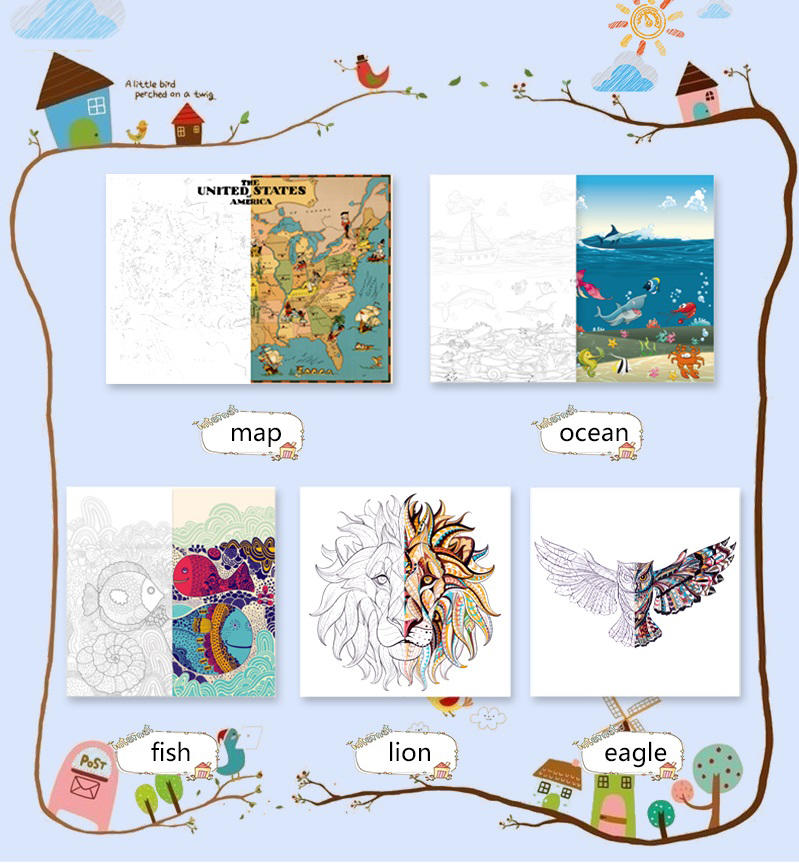 New Arrival Drawing poster,Coloring poster for kids,Coloring pages for kids and adults for FBA