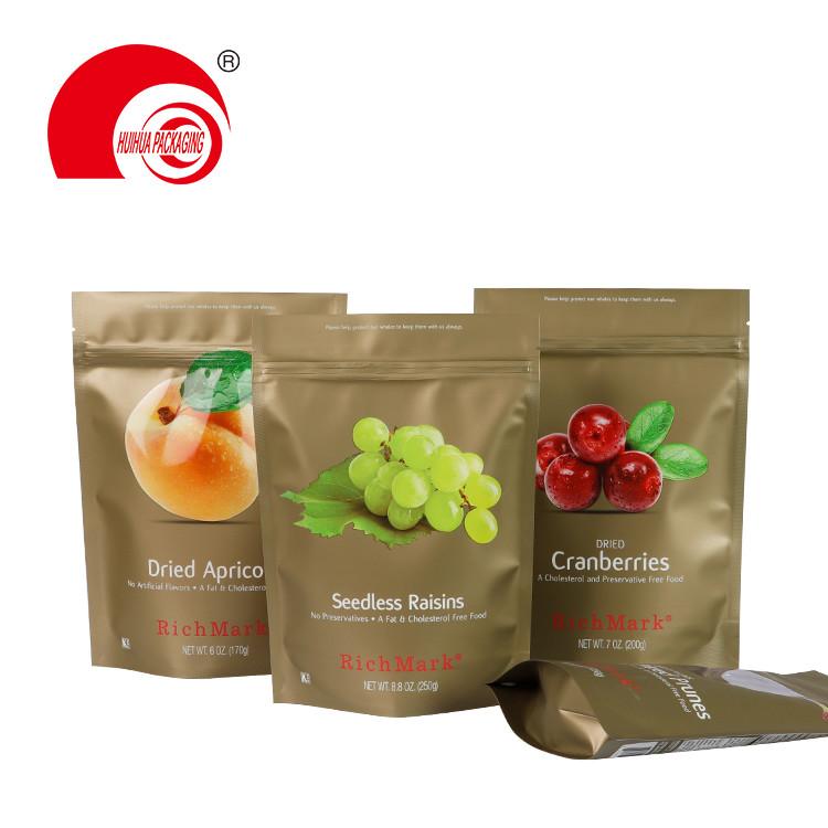 Aluminum Foil Self Standing Fruit Bag Dried Raisins Cranberries Apricots Packaging Pouch