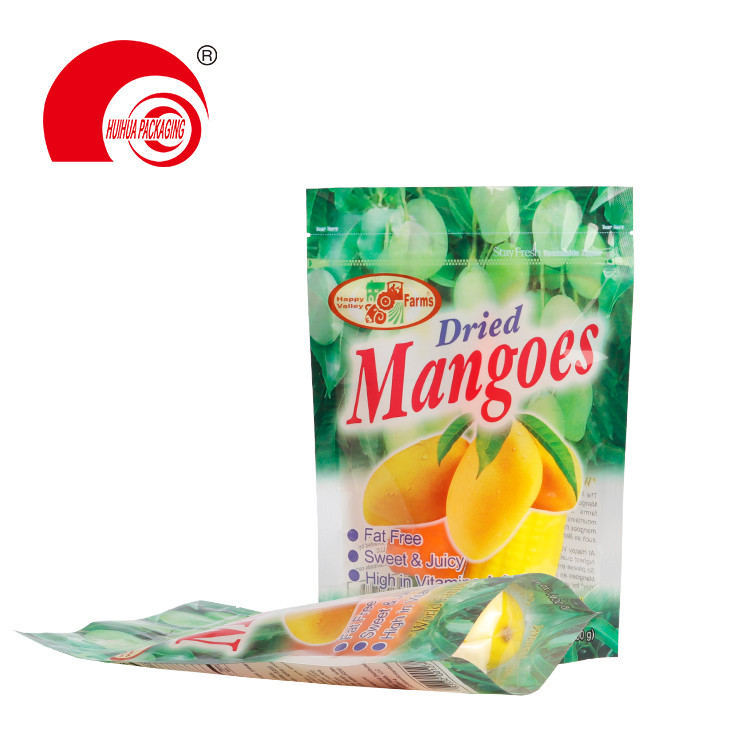 product-Huihua-Fruit Packaging Plastic Bag Resealable Zipper Clear Window Stand Up Dried Mangoes Pac