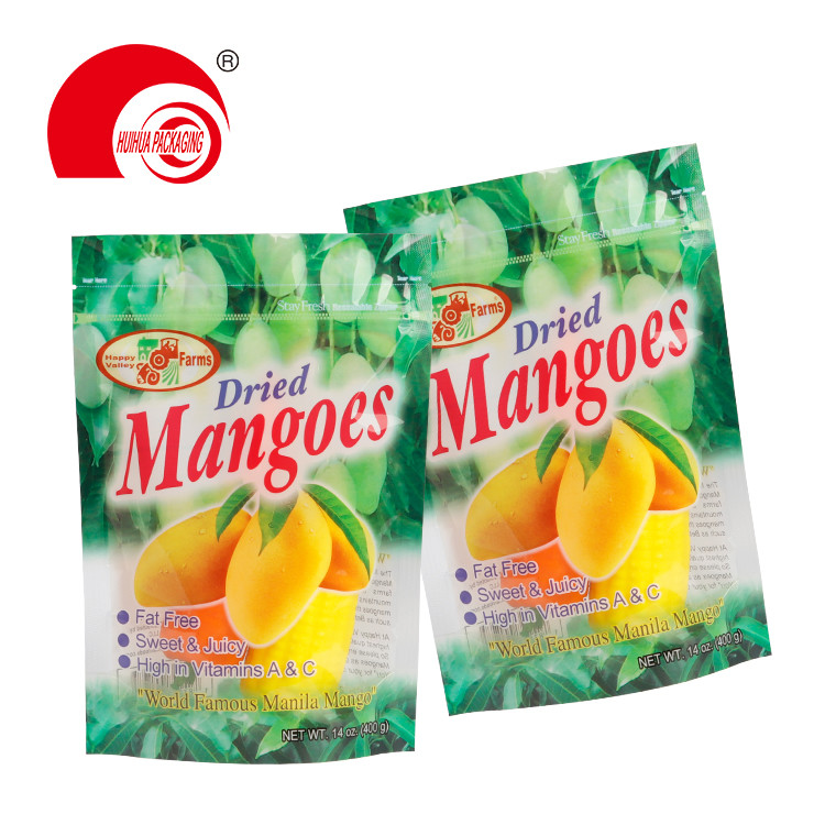 Fruit Packaging Plastic Bag Resealable Zipper Clear Window Stand Up Dried Mangoes Packaging Pouch