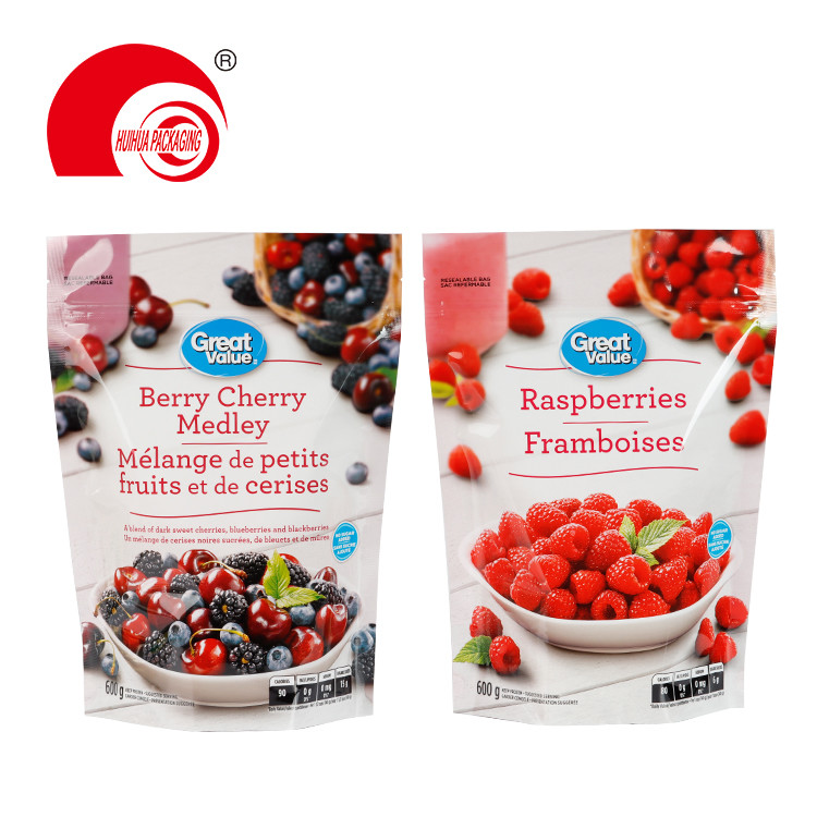 Stand Up Resealable Fruit Packaging Pouch Raspberries Berry Cherry Medley Storage Bag