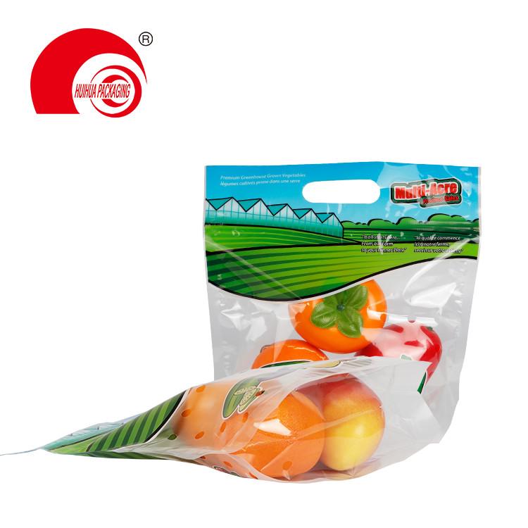 Food Grade Reusable Clear Fresh Fruit Packaging Bag with Handle Reusable Zipper