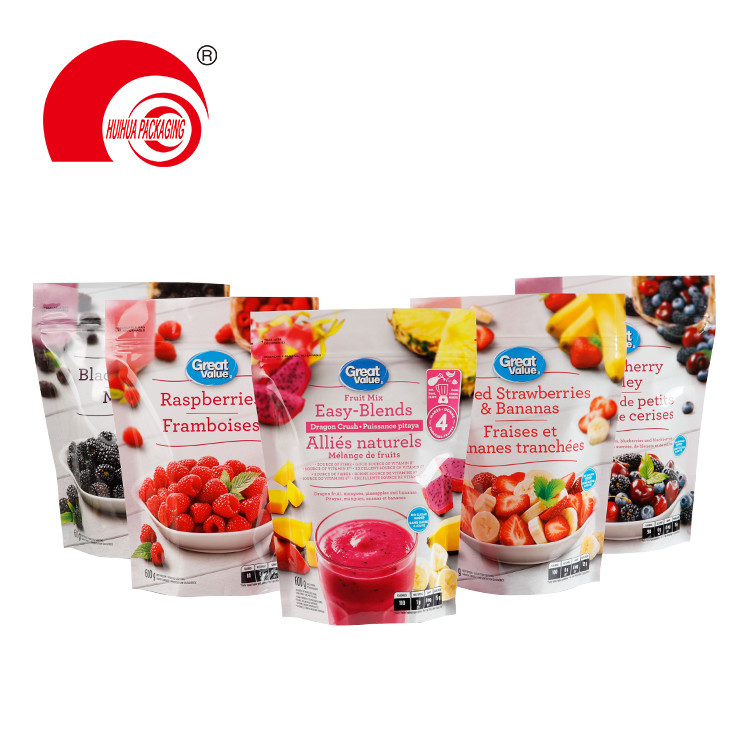 Stand Up Fruit Pouch Berries Bananas Fruit Mix Plastic Storage Bag with Ziplock