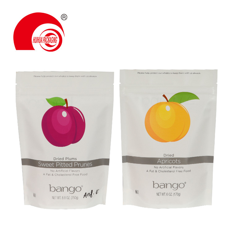 Custom Printed Pitted Prunes Apricots Plum Pouch Stand Up Fruit Packaging Bag with Zipper