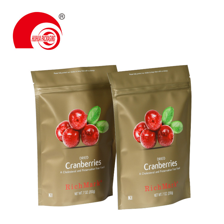 Custom Printed Fruit Packaging Pouch Dried Cranberries Bag with Resealable Ziplock