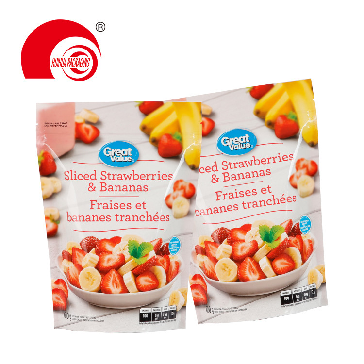 Mix Fruits Sliced Strawberries Bananas Packaging Bag Resealable Fruit Packing Pouch
