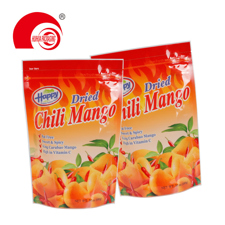 Stand Up Dried Fruit Packaging Bag Dried Chili Mango Package Doypack with Zipper Tear Notch