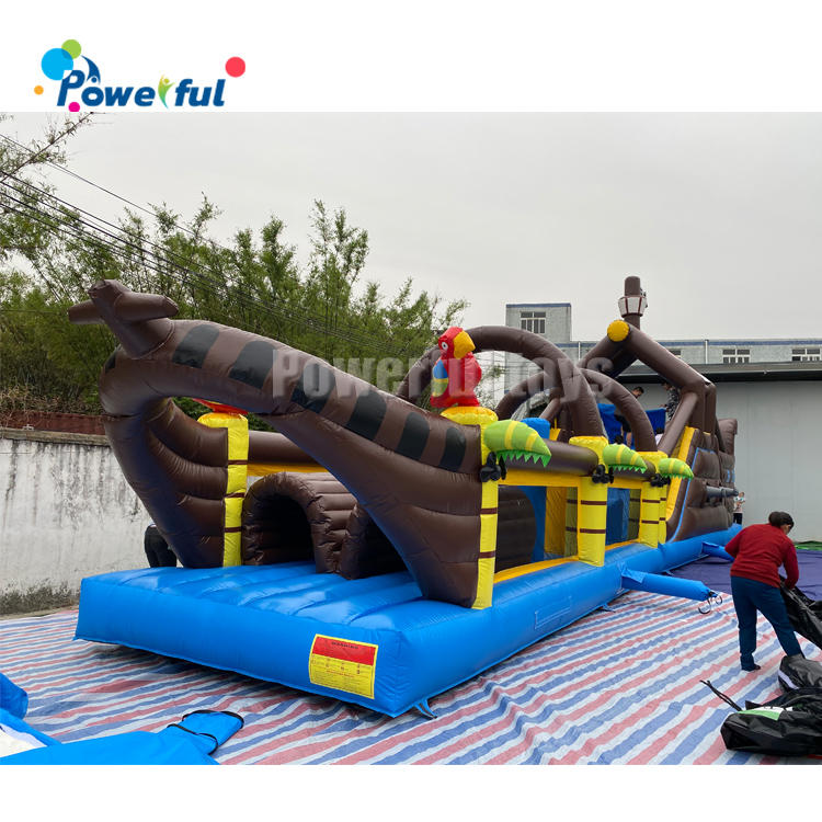 CommercialInflatable Pirate Boat Combo Bounce House Long Tunnel Obstacle Course