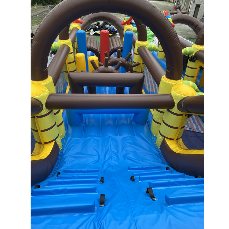 Inflatable Pirate Boat Pirate Obstacle Course bounce slide for Kids amusement park equipment