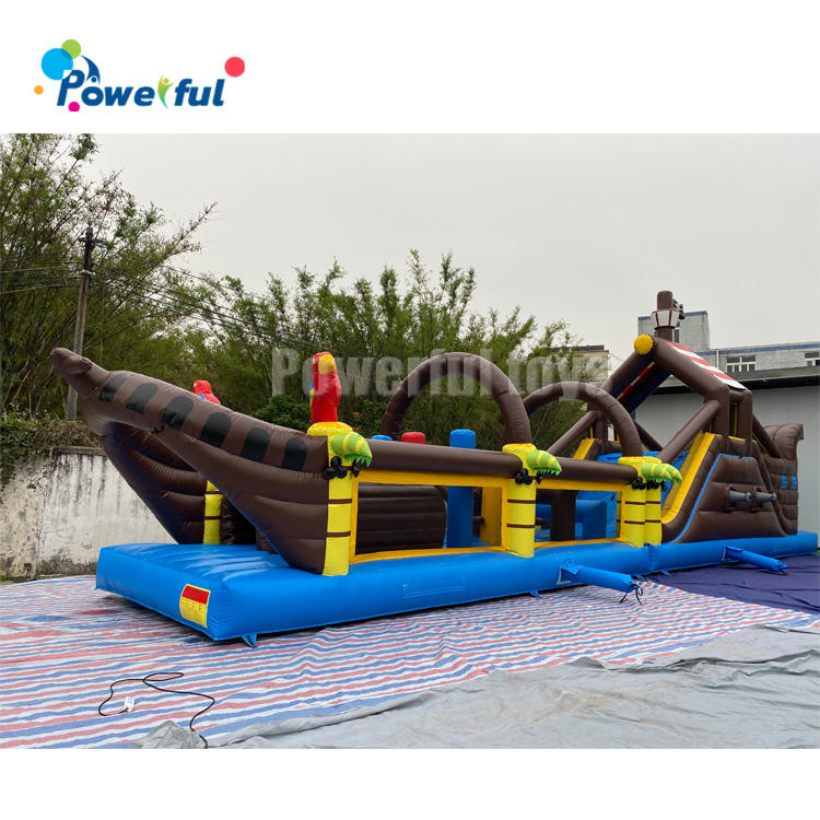 Customized giant inflatable bounce slide porate boat obstacle