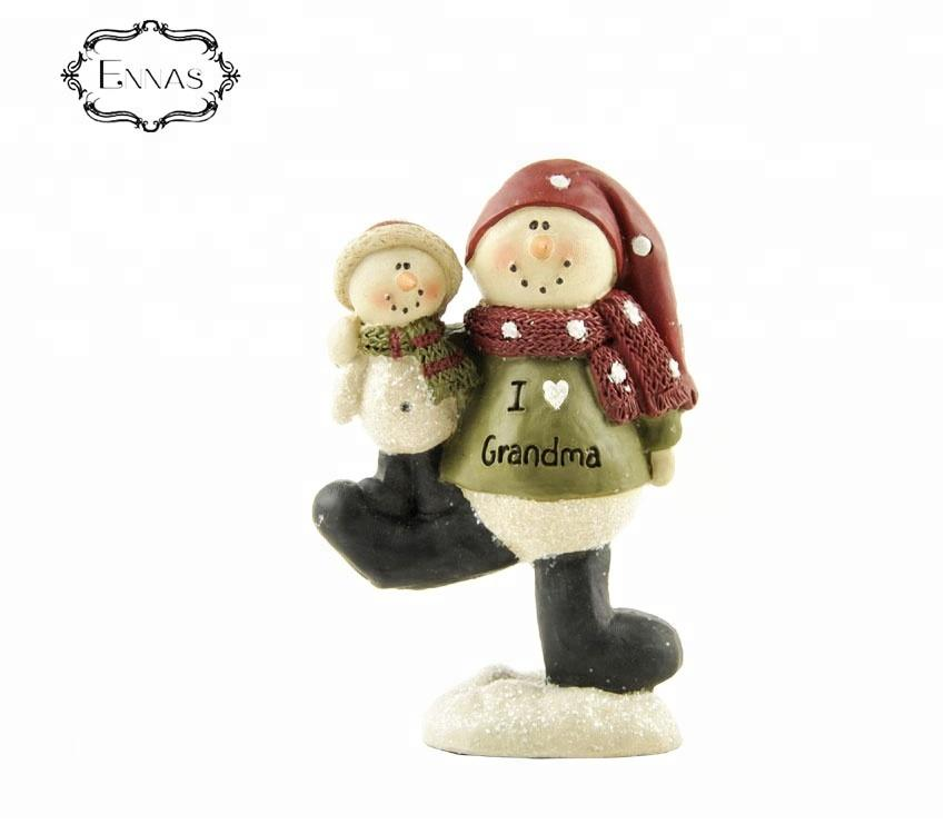 Dear loved grandmother and grandson resin snowman ornament Christmas gift