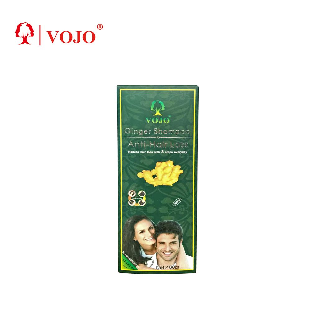 low MOQ anti hair loss oily hair control damage repaired organic natural vojo ginger high quality anti hair loss treatment