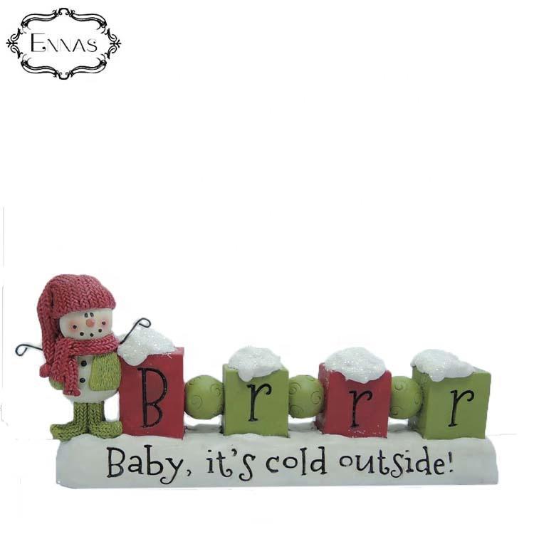 Brrr bead block on base w/snowman resin figure Christmas decoration supplies