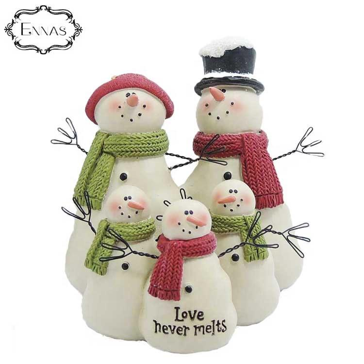 Love never snowmen with three children resin figuresnowmen Christmas decoration supplies