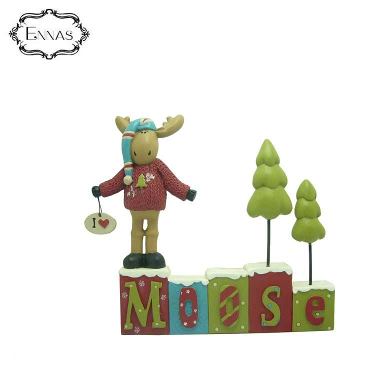 Moose sledding figure with 'snow much fun' letters home decoration sculpture animal statue craft